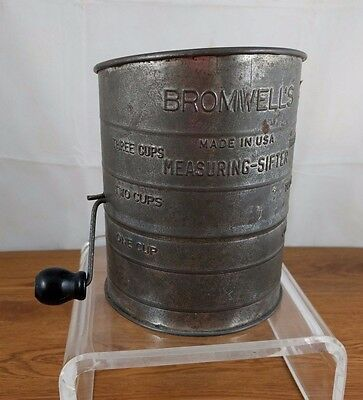 VTG Bromwell's Measuring Sifter Flower Wood Handle Tin USA Primitive Kitchen