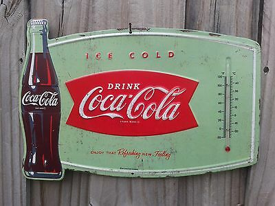 Coke Cola Ice Metal Sign Thermometer 13 By 10 Inches Raised Letter Vintage Look