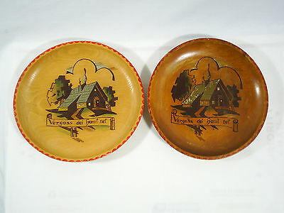 Vintage Wood Plate Decorated German Wall Hanging Hand Painted