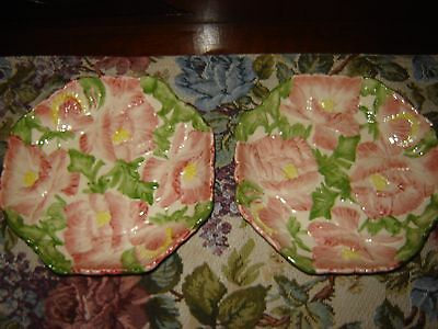 Pair 1988 Fitz and Floyd Tuilleries Blushing Rose Canape Plate Salad Bowl  Pink
