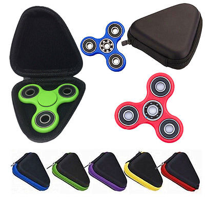 NEW Gift For Fidget Hand Spinner Triangle Finger Toy Focus ADHD Autism Box Case