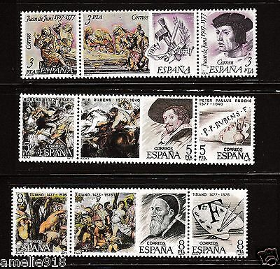Spain Stamp 1977 Sculptors and Painters Se-tenant, Juan de Juni, Rubens, Titian