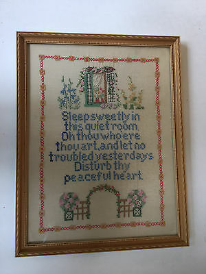 "Framed  Folk Art Needlework ""Sleep Sweetly in this quiet room ..."" (794)"