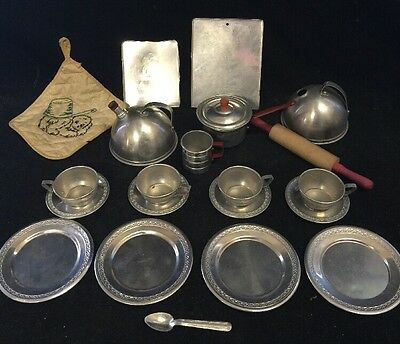 VTG Child Aluminum Toy Lot 21 Tea Set Cup Plates Pot Holder Coffee Red Handle