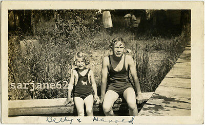 TEEN BOY & LITTLE SIS in SWIMSUITS NEAR a  SWIMMING HOLE VINTAGE PHOTO