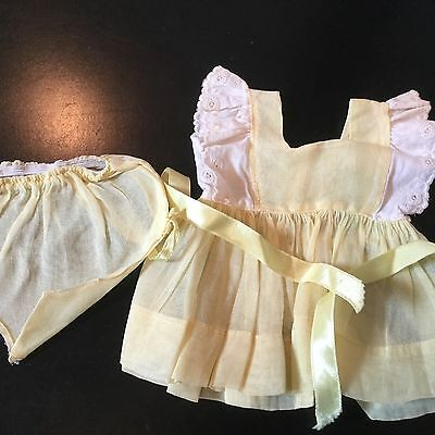 Terri Lee doll Clothing Yellow Organdy Dress and Panties 1950s tagged
