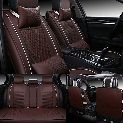 Luxury Coffee Car 5-Seat Leather Seat Cover Front+Rear Neck Lumbar Pillow New