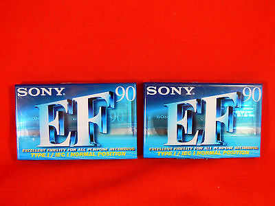 2 x Sony C90EFB BLANK AUDIO CASSETTE TAPES Normal Position 90 Min NEW & UNOPENED