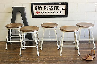 ONE (x1) Vintage Industrial Angle Steel Stool Co Machine Age Chair 5 Available!