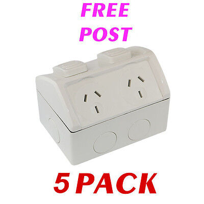5 x Weatherproof Double Power Point 10 Amp IP53 GPO 10A Powerpoint Socket Outlet