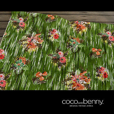 *Vintage 70's Green and Floral COTOIN Fabric 3 metres x 92cm Great Dress Fabric