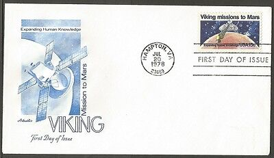 Us Fdc 1978 Viking Missions To Mars 15C #1759 Artmaster First Day Of Issue Cover