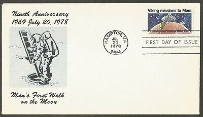 Us Fdc 1978 Viking Missions To Mars 15C #1759 First Day Of Issue Cover