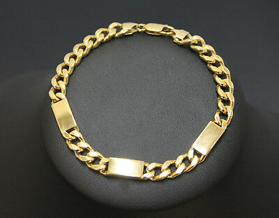 Men's 18K Solid Yellow Gold Curb Link Chain Bracelet 14.1 Grams