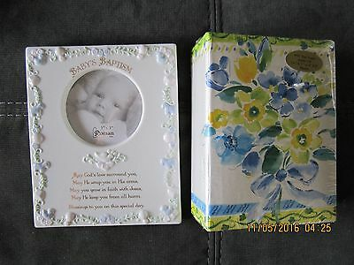 Baby's Baptism Picture Frame w/ a raised border and a Photo Book