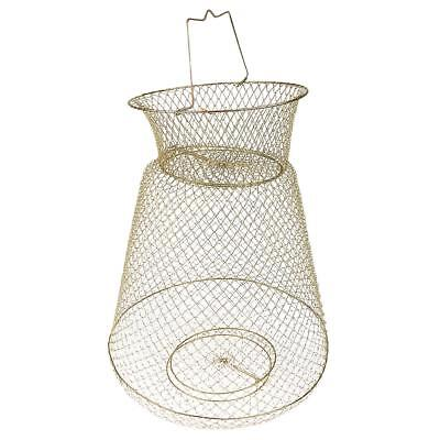 Collapsible Steel Wire Fish Basket Shrimp Crab Cage Fish Keeper Net - Gold