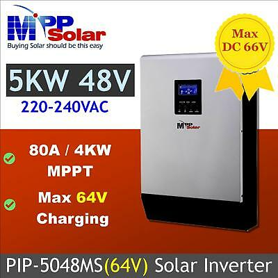 Solar power inverter 5000w 48v 230vac +MPPT solar charger 80A + battery charger