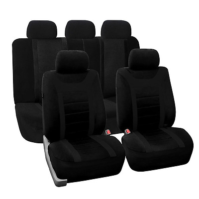 FH Group Universal Fit Full Set Sports Fabric Car Seat Cover with Airbag & Split