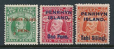 1914 Penrhyn Definitives Set Of 3 Mint Hinged Mm/mh