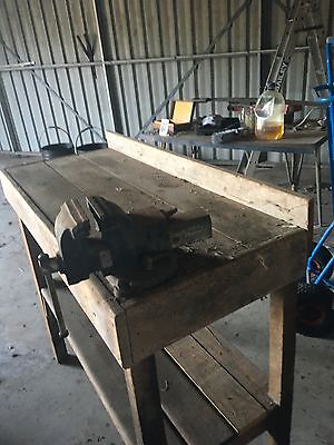 vintage timber work bench with vice BERRY