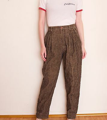 Vintage 80s corduroy high waisted pants brown Ann Taylor trouser xs minimalist