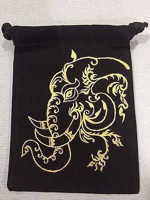 Thai Elephant Painting Handmade Black Fabric Purse Coin Pouch Bag
