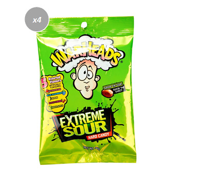903423 4 x 56g PACKETS OF WARHEADS EXTREME SOUR HARD CANDY 5 ASSORTED FLAVOURS!