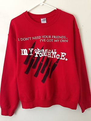 """My Chemical Romance """"I Don't Need Your Friends I Got My Own"""" Band Sweater Size M"""