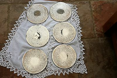 """Set of 6 Vintage Silver Plated Place Mats / Coasters 7"""" diameter green felt back"""