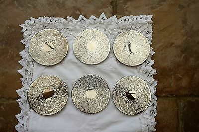 "Set of 6 Vintage Silver Plated Coasters 4"" diameter green felt back"