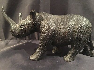 Vintage Black African Black Ebony Rhino Rhinoceros Sculpture Animal