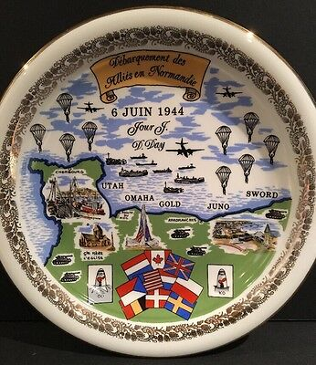Vintage French D DAY WWII Normandie Commemorative Plate Dish