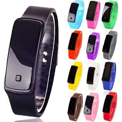 Kids Men's Ladies Thin Silicone LED Rubber Bracelet Touch Digital Wrist Watch