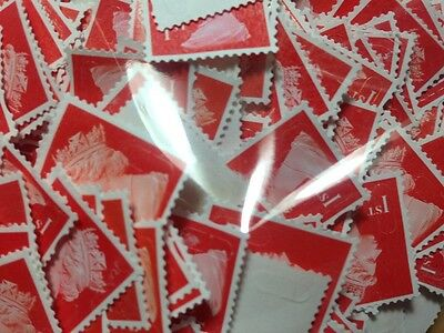 200 1st Class Unfranked Stamps Off Paper all Red (Special Delivery Guaranteed™)