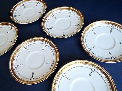 Vintage Aynsley England set of 6 saucers, hand decorated gold trim #2878