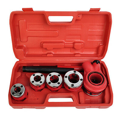 New Ratchet Pipe Threader Kit Set Ratcheting w/5 Stock Dies Handle Plumbing Case