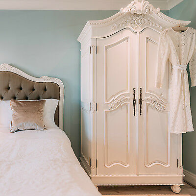 French Chateau Style White Hand Carved Double Armoire Wardrobe **RRP £1249.00**