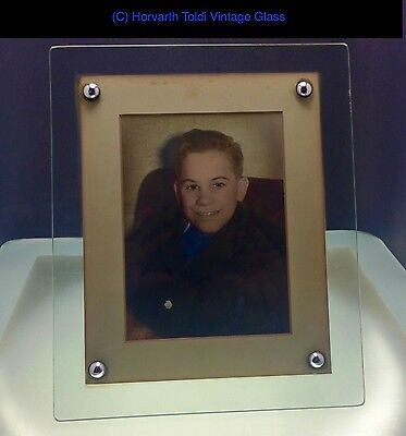 1930s Art Deco Glass Photograph Frame on Wooden Stand