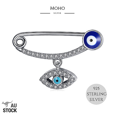 925 Sterling Silver Lucky Evil Eye/mati Protection Safety Pin/brooch For Baby