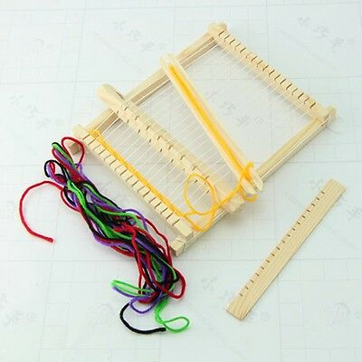 Child Wooden Handloom Developmental DIY Yarn Weaving Knitting Shuttle Loom Toy