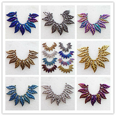 9pcs Carved Mixed Color Hematite Leaf 27x12x2mm Pendant bead Set L005