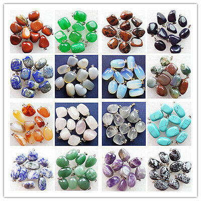 15x12x9mm-18x13x11mm 10pcs Beautiful Mixed Gemstone Freeform Pendant Bead GL066