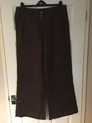 Ladies Brown Sticky Finger 100% Linen Trousers Size 16 Wide Leg