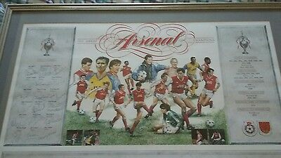 arsenal autographed picture 1988/89 champions anfield
