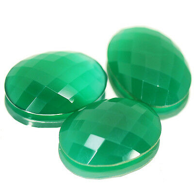 64.5Ct Natural Green Onyx Checker Oval Cut Gemstone Wholesale Lot 3pc