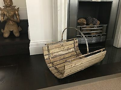 large vintage french log basket