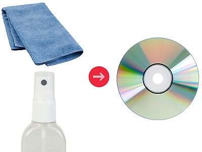 DVD & CD Cleaning Kit - Spray Liquid & Microfibre Cloth. Disc Surface Cleaner