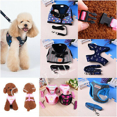 Adjustable Pet Puppy Dog Cat Harness and Lead Soft Strap Vest With Collar