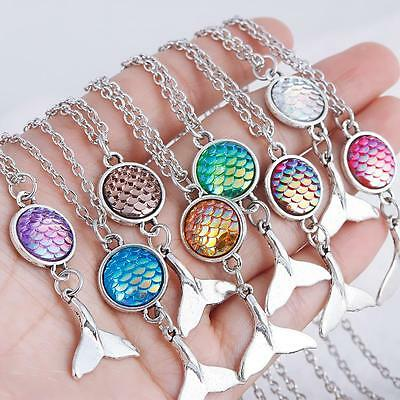 Fashion Mermaid Scales Whale Tail Fish Pendant Necklace Crystal Jewelry AU