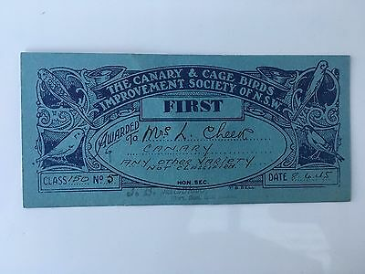 1945 The Canary & Cage Birds Improvement Society of NSW First Certificate Prize